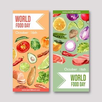 アボカド、タマネギ、ピーマンの水彩イラストの世界食糧日チラシ。