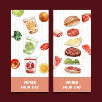 かぼちゃ、ブロッコリー、ハンバーガーの水彩画とイラストの世界食糧日チラシ。