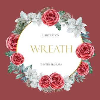 Зимняя цветочная цветущая рамка венок элегантная для украшения винтажная красивая