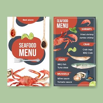 Мировое меню дня еды с крабом, креветкой, иллюстрацией акварели мяса моллюска.