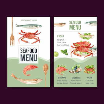 Мировое меню дня еды с креветками, мясом моллюска, крабом, иллюстрацией акварели рыб.