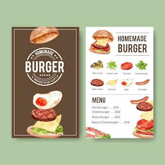 ハンバーガー、ビーフステーキ、ソーセージの水彩イラストの世界食糧日メニュー。