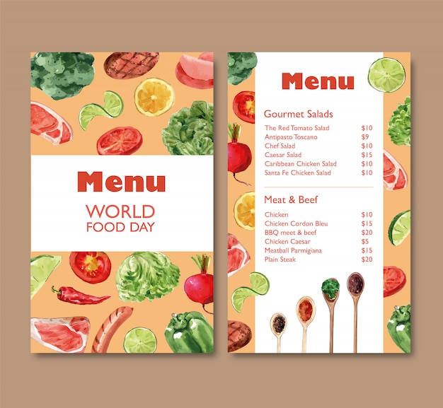 Мировое меню дня еды с брокколи, болгарским перцем, акварельной иллюстрацией свеклы.