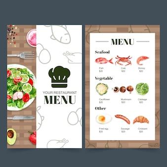 レストランの世界の食の日メニューコレクション。食品の水彩イラスト。