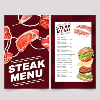 レストランの世界料理の日メニュー。様々な肉の水彩イラスト。
