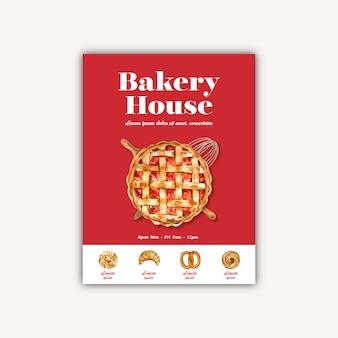 パン屋さんポスターテンプレート。パンとパンのコレクション。ホームメイド