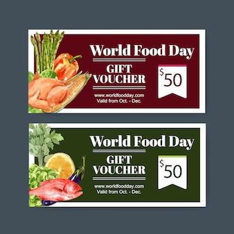 Всемирный день питания ваучер с курицей, баклажанами, рыбой, лимоном акварельные иллюстрации.