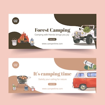 Кемпинг баннер с иллюстрациями автомобилей, фонарей и костра