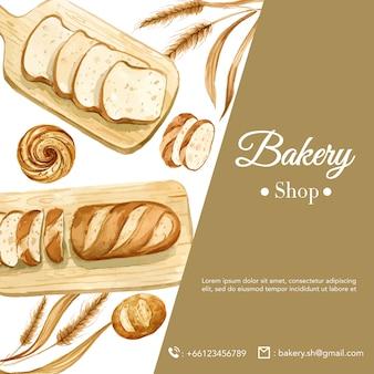パン屋さんソーシャルメディアテンプレート。パンとパンのコレクション。ホームメイド