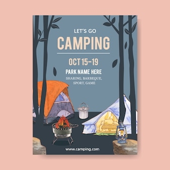 テント、鍋、グリルストーブ、ランタンとキャンプポスター