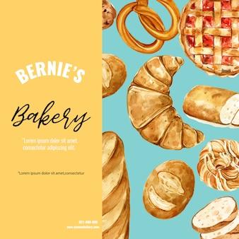 Пекарня шаблон социальных медиа. сбор хлеба и булочек. домашний