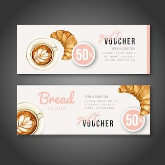 パン屋さんのギフト券テンプレート。パンとパンのコレクション。ホームメイド