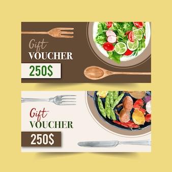 Ваучер дня еды мира с иллюстрацией салата и овоща изолированной акварелью.