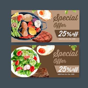 Всемирный день питания ваучер с жареным яйцом, салат, грибы, говяжий стейк акварельные иллюстрации.