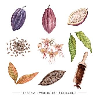 装飾用の白い背景の上のチョコレートの水彩イラスト。