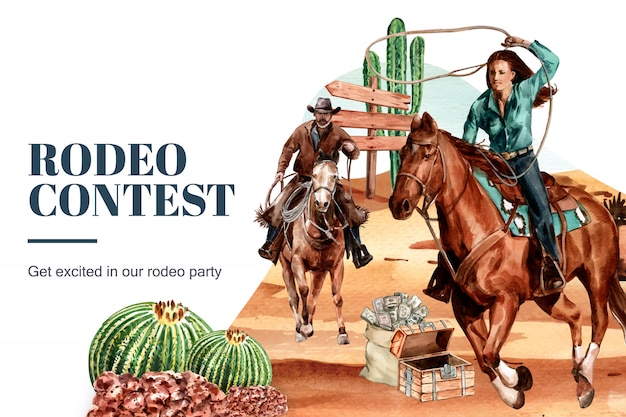 Ковбойская рамка с женщиной, лошадь, кактус, сундук, пустыня
