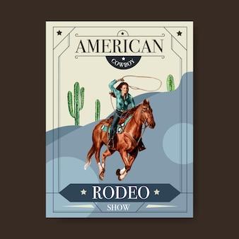 Ковбойский плакат с женщиной, лошадью, кактусом