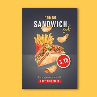 レストランのファーストフード店のポスターは、食欲をそそる食べ物を見て