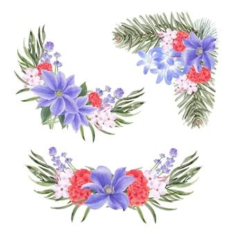 ユリ、牡丹、ラベンダーと冬の花の花束