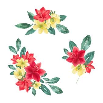 アネモネ、ユリ、葉と冬の花の花束