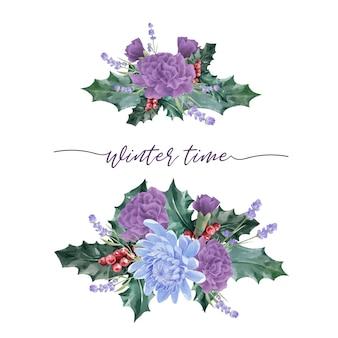 Букет зимних цветов с пионом, хризантемой
