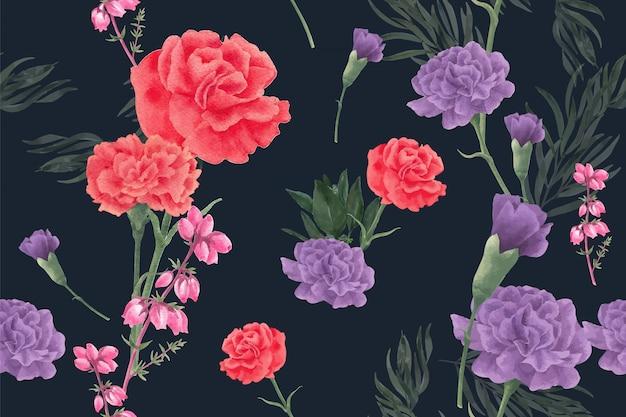 牡丹と冬の花のパターン