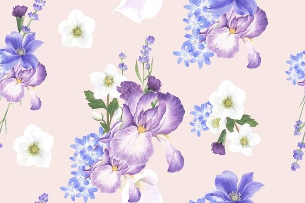 アネモネと冬の花のパターン