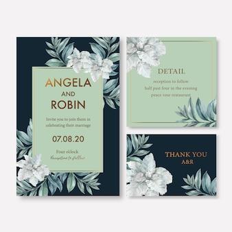 Зимнее цветение свадебной открытки с листвой