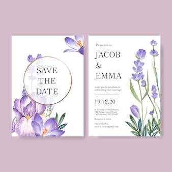 ラベンダー、カトレアと冬の花のウェディングカード