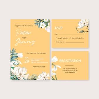 Зимнее цветение свадебной открытки с различными цветами