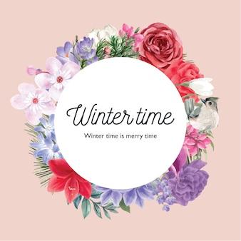 さまざまな花柄の冬の花の花輪