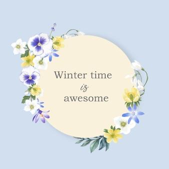 Зимний цветущий венок с анемонами, орхидеями, галантами