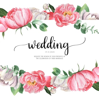 ピンクの牡丹咲く花植物水彩画ウェディングカード招待状花アクワレル