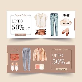シャツ、パンツ、靴とファッションバナーデザイン