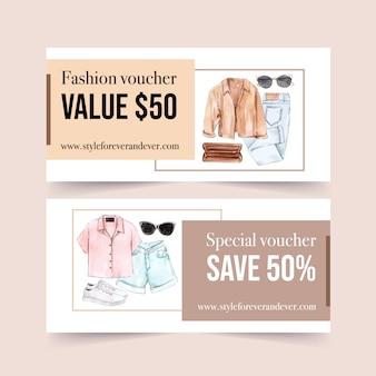 Дизайн моды ваучер с пальто, сумка, джинсы, солнцезащитные очки, обувь акварельные иллюстрации.