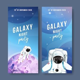 宇宙飛行士、惑星水彩イラストと銀河バナー。