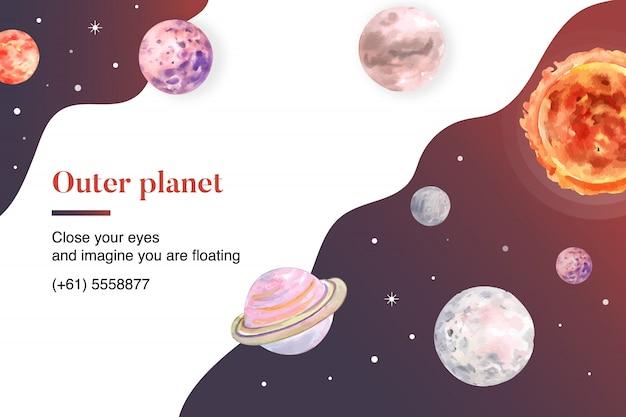 銀河の惑星水彩イラスト。