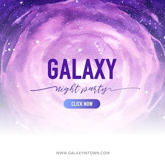 Галактика социальные медиа пост с фиолетовым космос акварель иллюстрации.