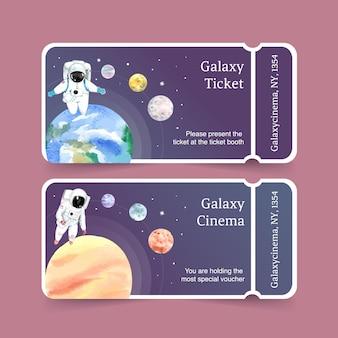 宇宙飛行士、惑星、地球の水彩イラストとギャラクシーチケットテンプレート。