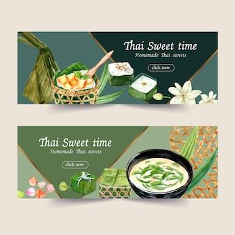 タイのプリンの水彩イラストとタイの甘いバナーデザイン。