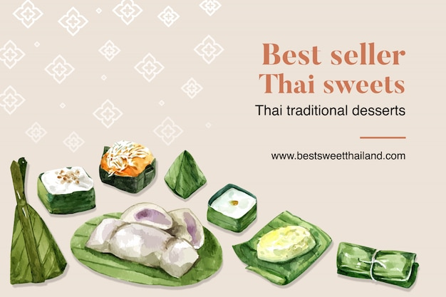 Тайский сладкий баннер шаблон с липким рисом, пудинг, банан акварель иллюстрации.