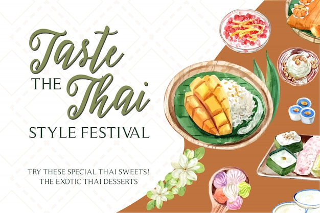 Тайский сладкий баннер шаблон с липким рисом, манго, акварель иллюстрации мороженого.