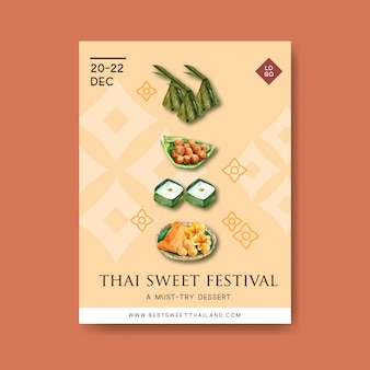 Тайский сладкий дизайн плаката с пудингом, золотые нити иллюстрации акварель.