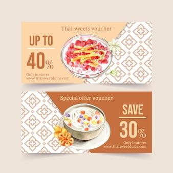 ココナッツミルク、水栗イラスト水彩画とタイの甘いバウチャーデザイン。