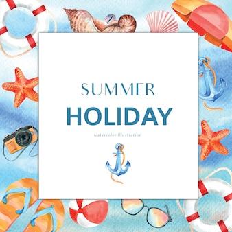 休日の夏ビーチ旅行ヤシの木の休暇、海と空の日差し