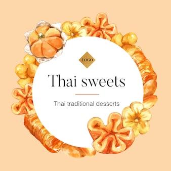 意味イラスト水彩画とタイのお菓子とタイの甘い花輪。