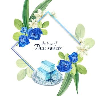 エンドウの花、ジャスミン、層状ゼリーイラスト水彩画とタイの甘い花輪。