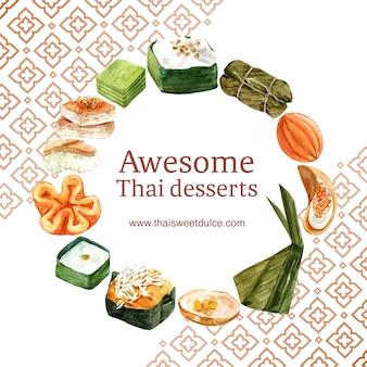 タイのカスタード、プリンのイラスト水彩画とタイの甘い花輪。