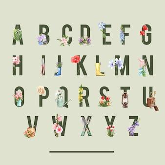 クライミングローズ、コロンバインの水彩イラストとフラワーガーデンアルファベット。