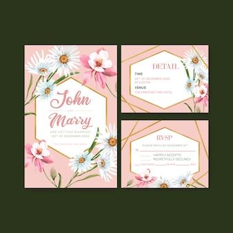 デイジー、オダマキの花の水彩イラストとフラワーガーデンのウェディングカード。
